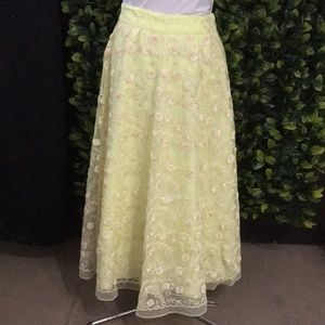 Yellow embroidered maxi skirt